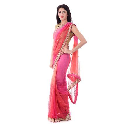 Shri Krishnam Women's Chiffon Cut-Dana and Beads Work Saree (Pink Shaded_free Size): Amazon.in: Clothing & Accessories