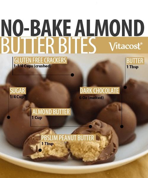Need dessert, quick? These no-bake almond butter bites are about as easy as it gets—just mix the ingredients, form into balls and freeze.  #Recipe #Vitacost #Dessert