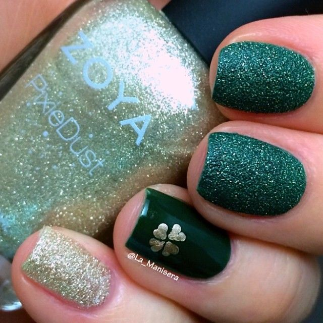 St. Patricks Day nails: Zoya Chita, Hunter and Tomoko with a shamrock in Essie Good as Gold.