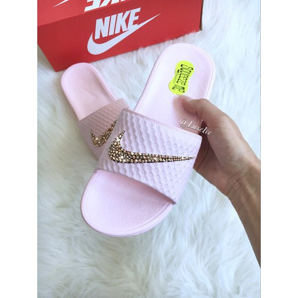 Nike Benassi Solarsoft 2 Pink Slides Flip Flops Customized With... ($85) ❤ liked on Polyvore featuring shoes, sandals, flip flops, gold, women's shoes, pink sparkly shoes, swarovski crystal sandals, shiny shoes and pink evening shoes