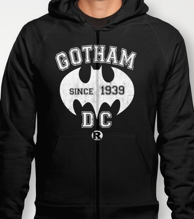 """""""BATMAN!"""" men's and women's fitted T's and Hoodies in various colours and sizes available at Society6! HOODIES $38 FITTED T's $22"""