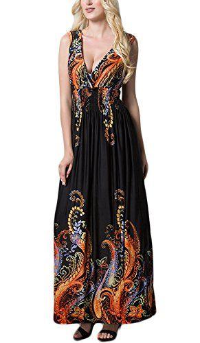 21081c38b5fb Vestiti Donna Eleganti Lunghi Vestitini Estivi Da Cerimonia Da Sera Abiti  Senza Maniche V Profondo Stampata
