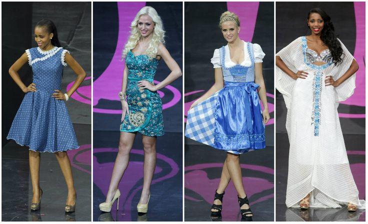Candidatas a #MissUniverso2013, representantes de #Botswana (izquierda), #Eslovenia, #Austria y #Etiopia, durante el desfile de trajes típicos. Siga las noticias sobre el concurso en: http://www.eluniverso.com/tema/miss-universo  Fotos: Agencias