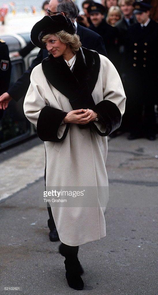 Princess Diana In Hamburg In A Coat With Fake Fur Trim Designed By Arabella Pollen