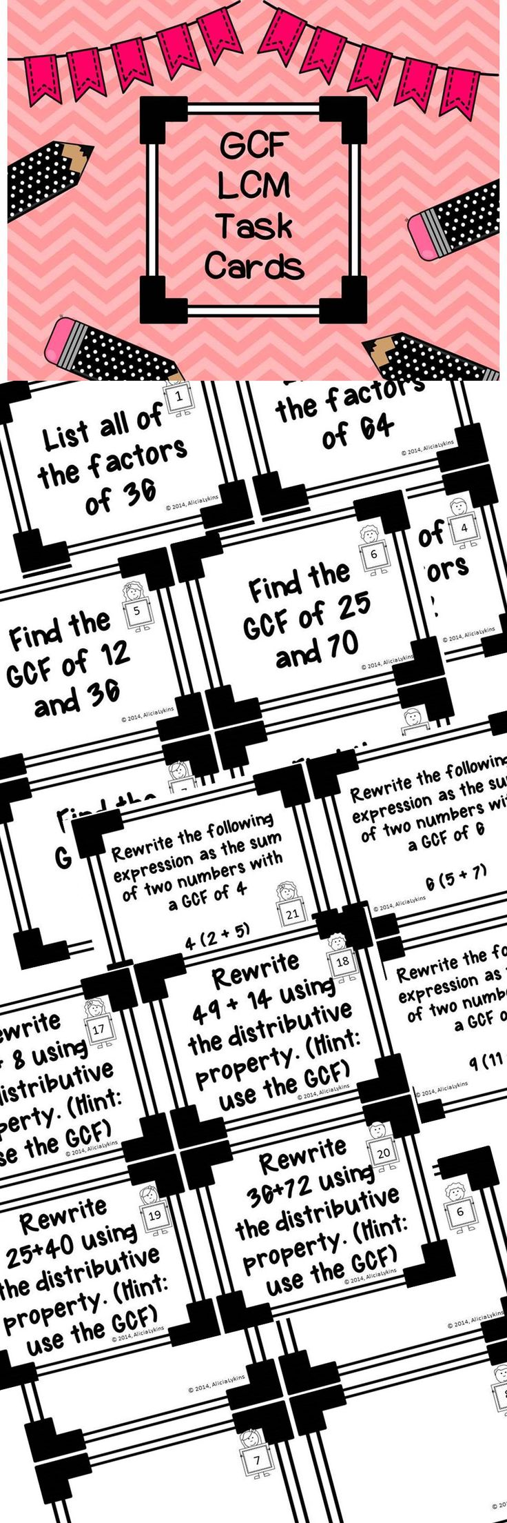 94 best ccr math images on pinterest teaching math school and gcf lcm and distributive property task cards with answer sheets fandeluxe Images