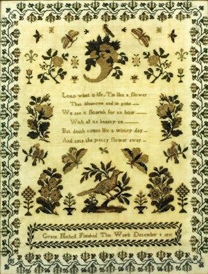 An early Victorian sampler worked in two-tone coloured silks by Grace Nicholl, December 8th 1841, with an uplifting verse to centre surrounded by flowering shrubs, birds, moths and a cornucopia, the border with a running design of flowers, 16ins x 12.25ins, another by Jane Goodwin, dated 1815, simply worked in coloured silks with urns of flowers, birds and a deer, 10ins x 11.5ins, and another worked by Alice Hammond, 1897, with two uplifting verses, the central band with heart, cross and…