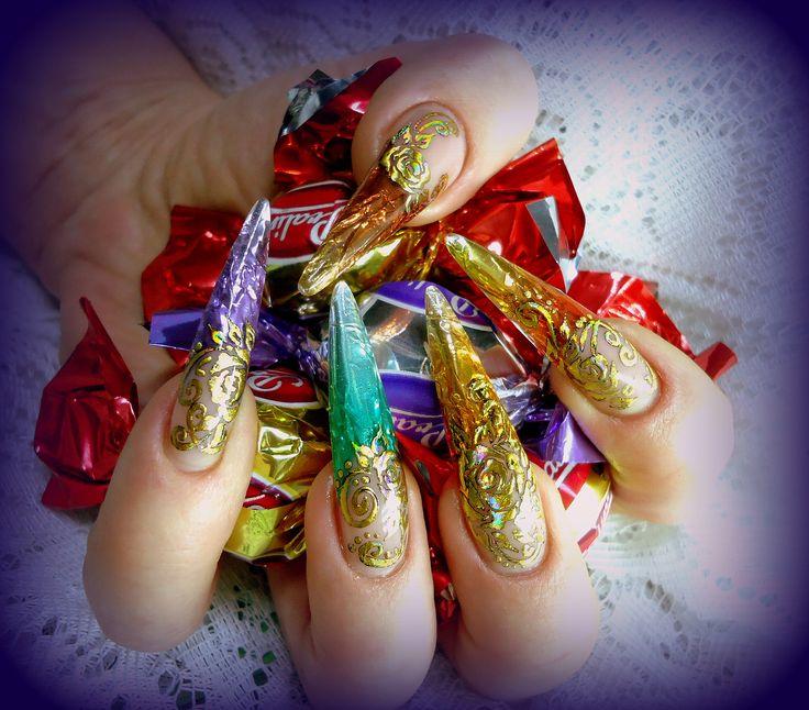 42 best nail art images on pinterest nail art and nail ideas eate con la carta dei cioccolatini nail art prinsesfo Gallery