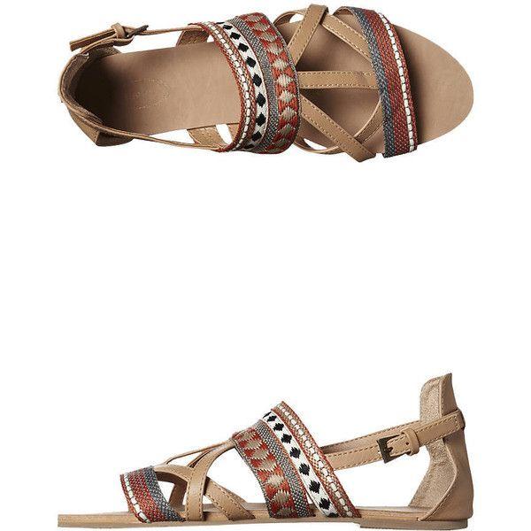 Kustom Tribal Sandal (540 UYU) ❤ liked on Polyvore featuring shoes, sandals, woven, tribal shoes, woven shoes, wrap sandals, tribal print shoes and wrap around sandals