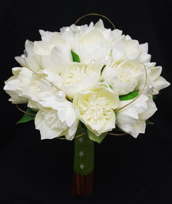 Wedding Natural Touch Ivory Lotus Peony Silk Flower Bride Bouquet - Almost Fresh