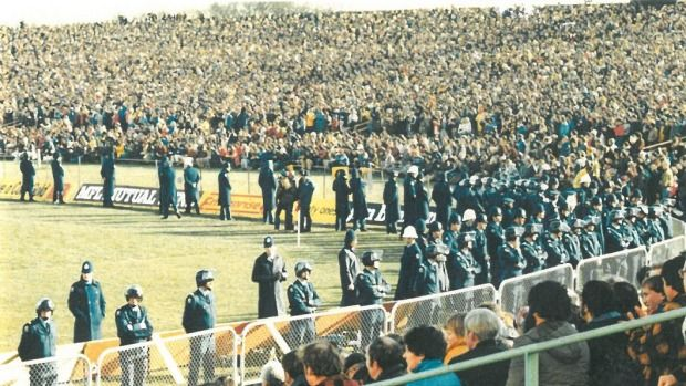 Lancaster Park was the scene for protests during the 1981 Springbok tour. Christchurch, New Zealand