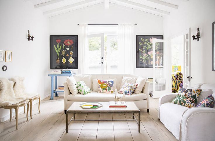 See photos of trend forecaster Anne Ziegler's urban oasis. Shop the laid-back vibe of her Los Angeles home like Serena and Lily Dip-Dyed Stools, the Evolution Store Tulip Botanicals, Europe2You Rush Barrel Basket and more!