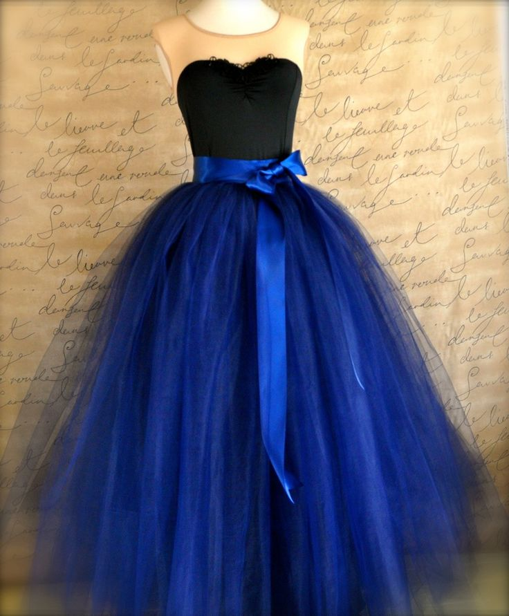 Full length navy tulle skirt. Navy tulle by TutusChicBoutique, $375.00  I can see a modern day Scarlett O'Hara swishing down her staircase in this beautiful full-length ball skirt! Very tightly gathered layers of midnight blue navy tulle is complemented with a wide luxurious satin ribbon waist. Lined with black bridal satin, this skirt has that vintage look of elegance and simplicity | Tardis blue