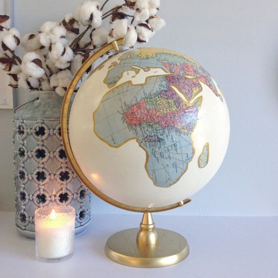 """Custom Map Decoupage & Ivory Hand Painted with Quote 12"""" diameter World Globe - Metallic Accenting"""