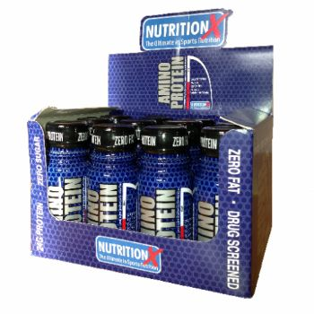 Amino Protein Shot is a unique blend of whey protein, casein protein and hydrolized collagen protein formulated to provide your body with the necessary amino acids to aid, muscle and joint health. Packed with B Vitamins to aids protein metabolism. #NutritionX #Amino #Protein #Shots