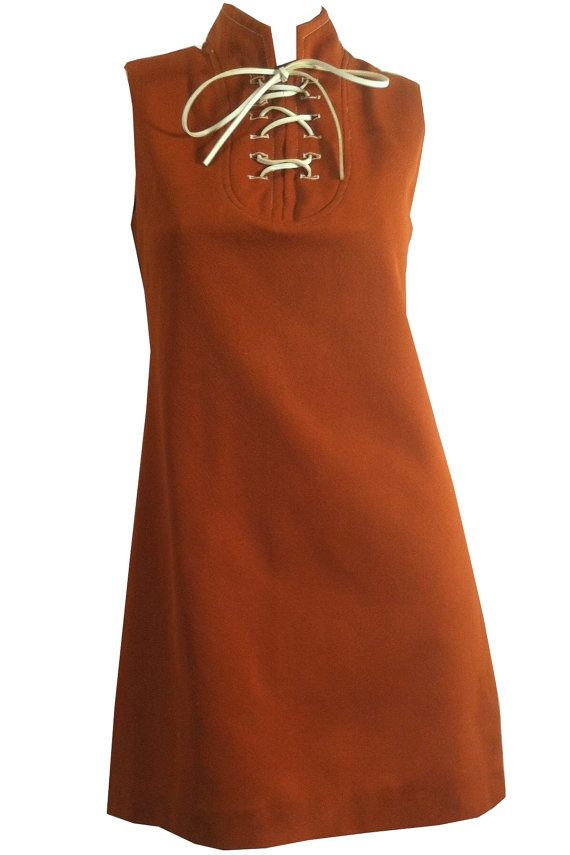 vintage Lace Up Cinnamon Brown Eensy Mini Dress 1960s Footbal Chic! by DorotheasCloset