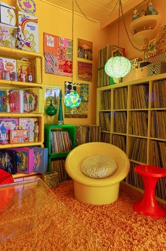 Lorena California and Johnny Sleeper's retro pad... a groovy, colorful corner of their Echo Park home...