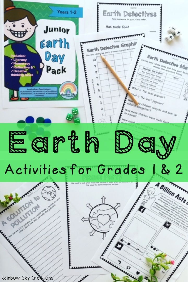 Use these teaching resources in your first or second grade classroom for ideas to teach your students about recycling, sustainability and caring for our Earth and environment. These Earth day activities for kids include creative writing prompts, literacy and math ideas. Printables (worksheets) also complement social studies or environmental science units {1st grade, 2nd grade, Grade 1, Grade 2, Year 1, Year 2, homeschool}