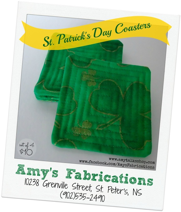 Amy's Fabrications: Fabric Coasters For St. Patrick's Day
