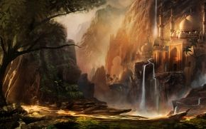 Mountains, waterfalls, Fantasy, building, city, dome, Art