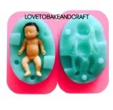 Silicone baby doll mold 3D double sided baby mold Approximate size Mold 5 5cm x 3 6cm Baby 4cm x 1 5cm All molds are high quality and are made from