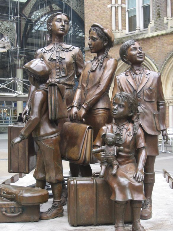 The Kindertransport statue at Liverpool Street Station, London -- It depicts a group of unaccompanied Jewish children arriving in Britain from Czechoslovakia, just ahead of Nazipersecution. an appreciation by Talking Beautiful Stuff