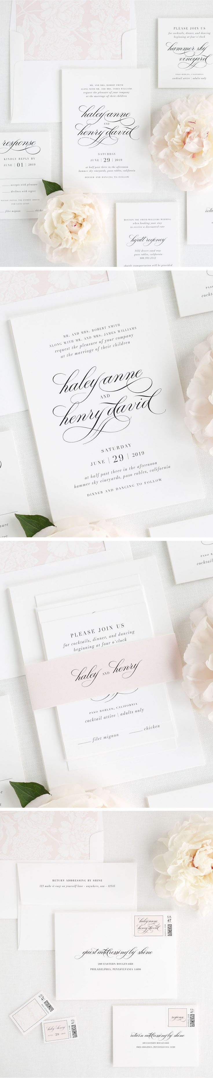 A delicate script and dramatic block font make for one romantic wedding invitation suite. Meet Haley, our bold yet classic design from our classic collection! Shine on your wedding day with any of our 40+ color options and totally customized to your choi