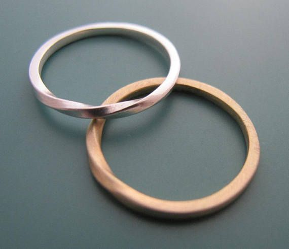 His And Hers Rings Wedding Band Set Couple Ring Mobius