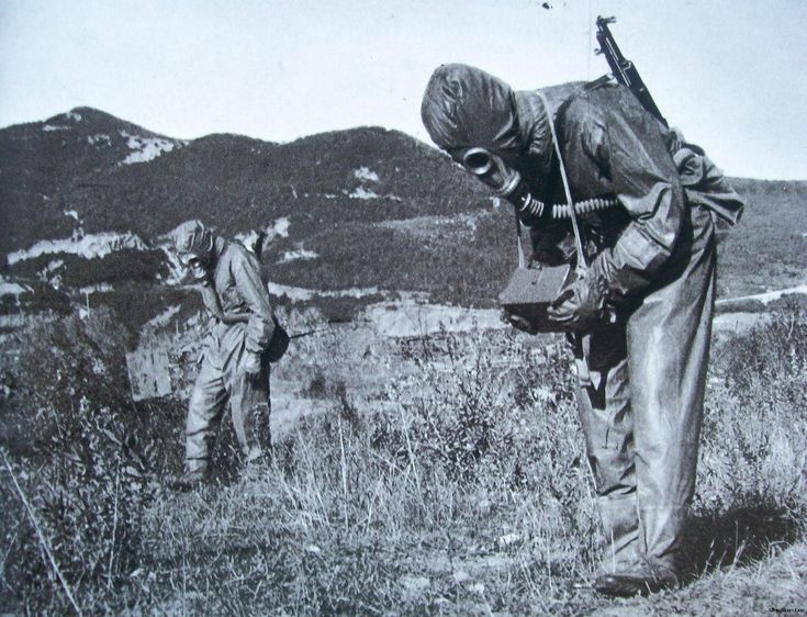 Soldiers of the Albanian People's Army training for chemical warfare.