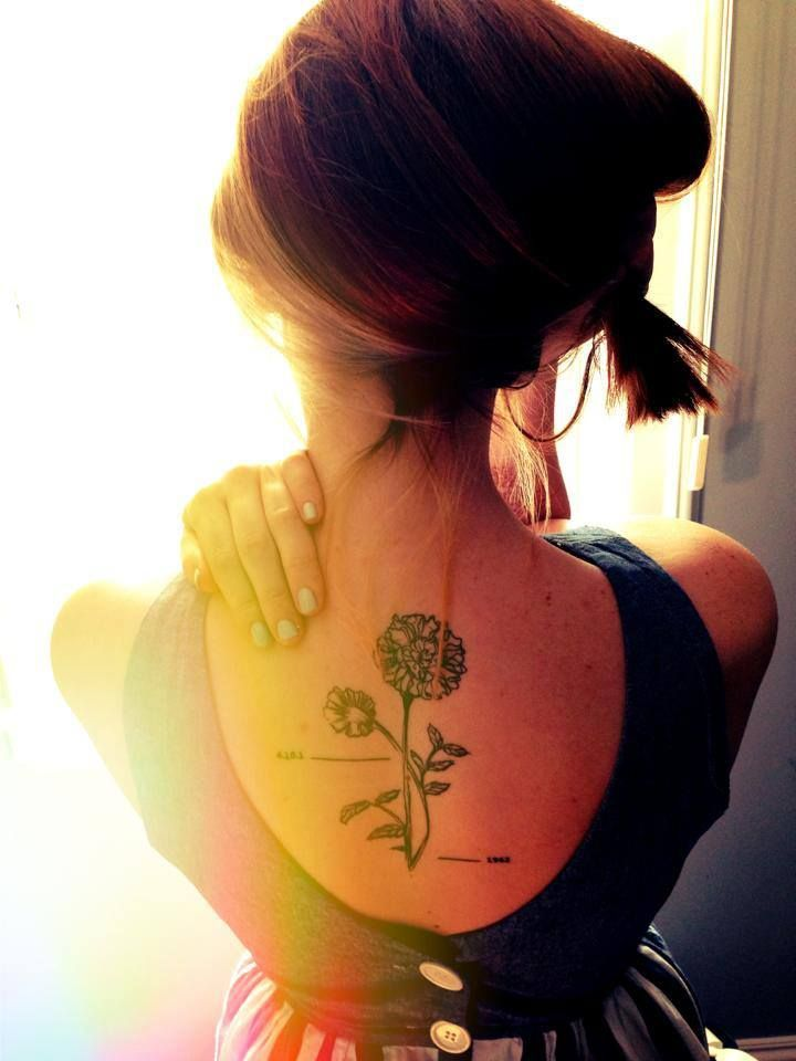 Gorgeous Marigold tattoo - the October Birth flower (placement)