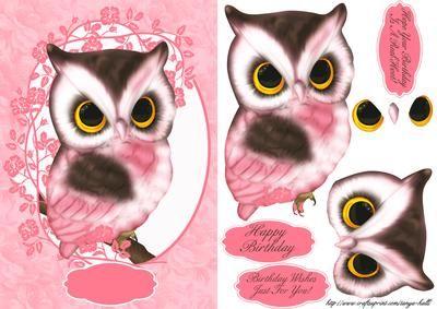 Cute Pink Owl Birthday Greeting Card
