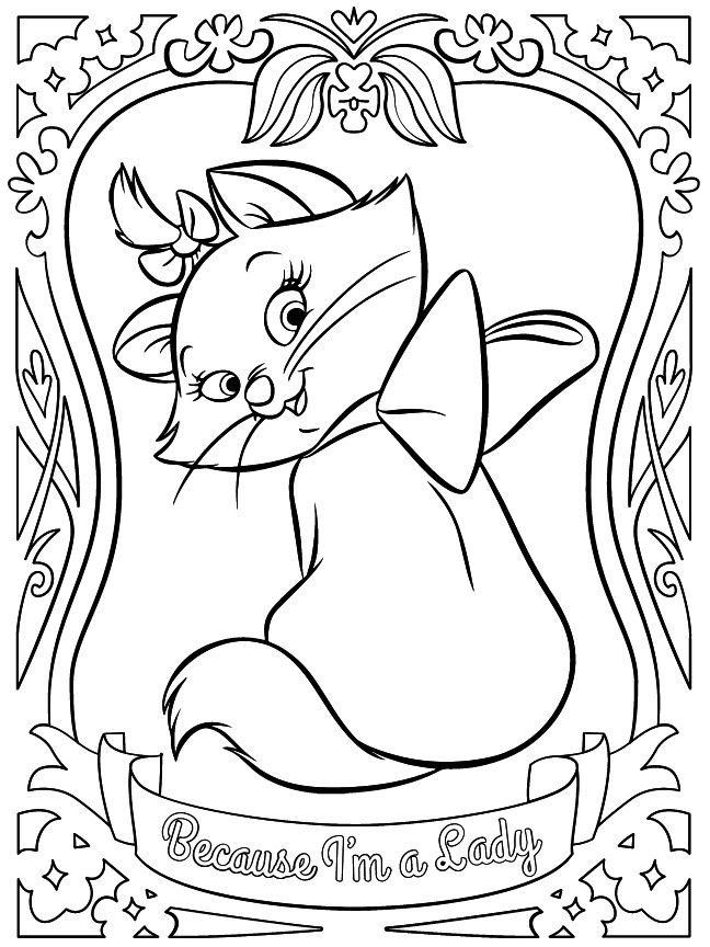Marie Disney Aristocats Colouring Page