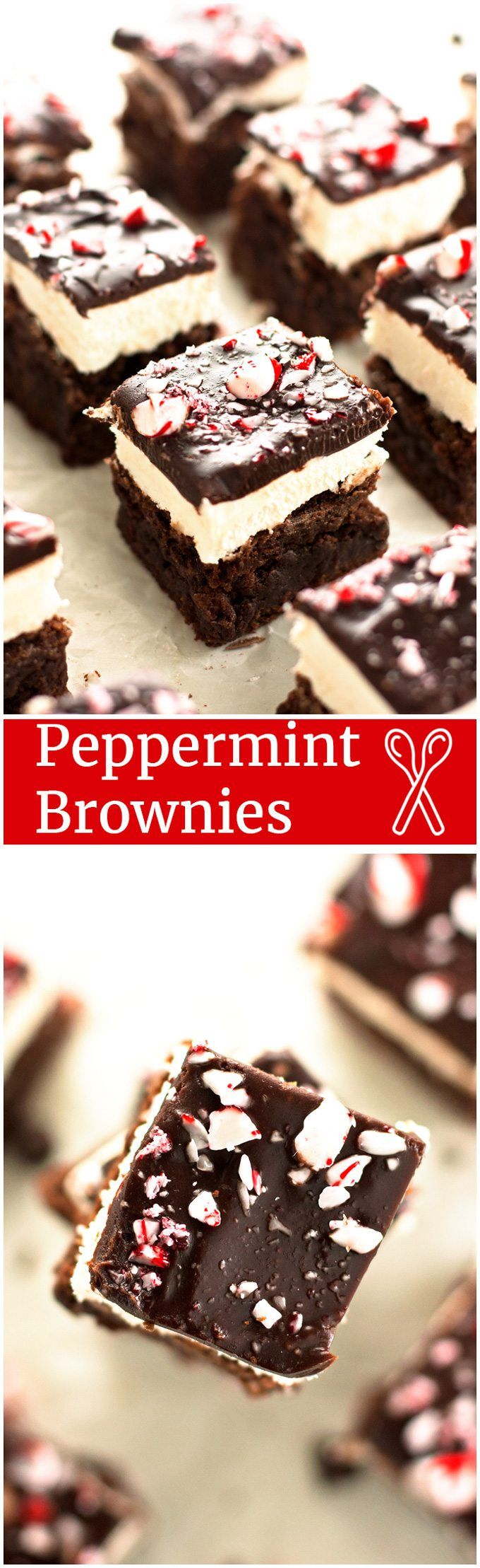 Peppermint Brownies - Fudgy peppermint brownies topped with creamy peppermint frosting, a rich layer of chocolate ganache, and crushed candy canes