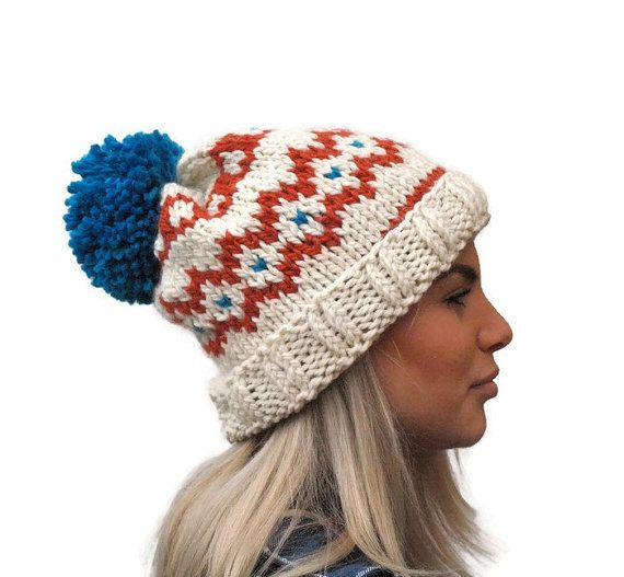 Knit fair isle hat pom pom hat  Hand Knit Beanie by PepperKnit