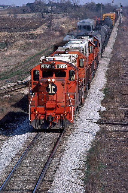 Illinois Central Gulf freight train Munger, Illinois
