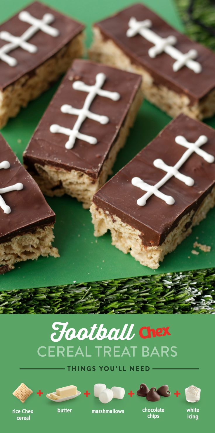 Made with Chex cereal and marshmallows, these delicious Football Chex Cereal Treat Bars are sure to be a crowd pleaser. Ready in just 15 minutes, these sweet treats will be the winning addition to your game day party.