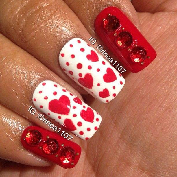 Red Rhinestone Heart Nail Art