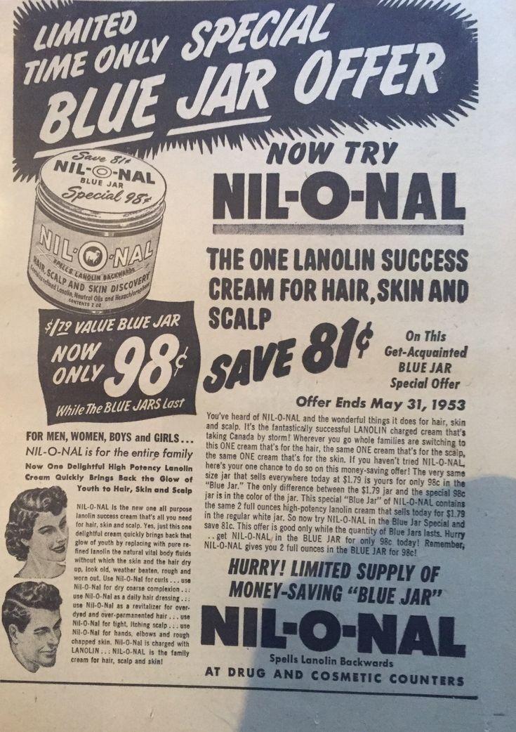 Vintage Nil o Nal hair waving cream ad Vintage