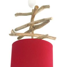 Lustre - suspension - plafonnier en bois flotté - rouge 25 cm -création unique