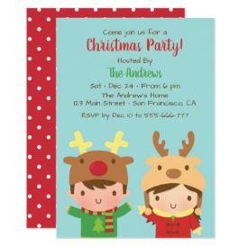Cute Kids Reindeer Antlers Hats Christmas Party Card