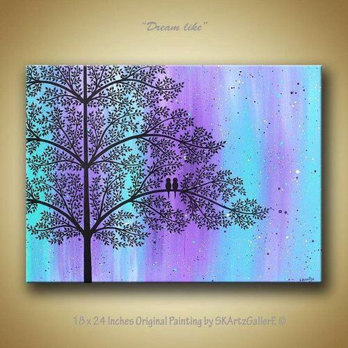 Love Birds On Tree Landscape Modern Contemporary Original Acrylic Painting Canvas