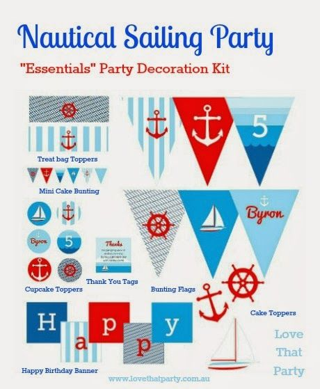 """Nautical Sailing Party """"Essentials"""" Printable Decoration Kit. Personalised with child's name and age and emailed to you for printing! Easy! Available from - Love That Party. www.lovethatparty.com.au"""