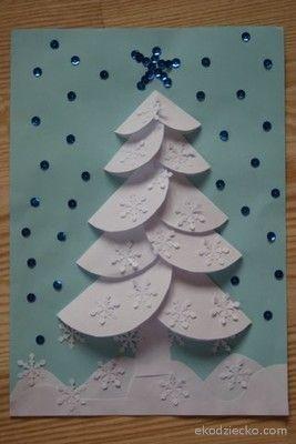 Zimowa, ośnieżona choinka origami z kółeczek  Winter Christmas tree origami with circles kids craft