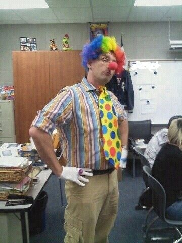 "From Reddit: ""This is my gay teacher the day after one of his students said, 'I'm glad gays can't marry here. They scare me, kinda like clowns.'"" 