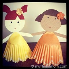 Cupcake liner paper doll's and other things to make with Cupcake liners!: Cupcake Liners, Cupcakes Liner, Dolls 06, Paper Dolls, Cute Ideas, Muffins Tins, Hats Crafts, Liner Paper, Rainbows Cupcakes