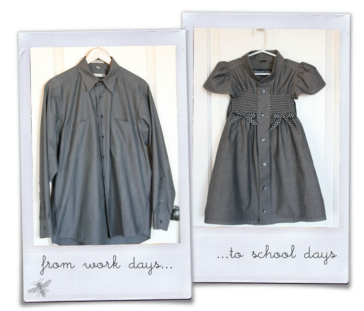Girl. Inspired.: his work shirt to her school dress...So cute!: Little Girls, Idea, Dress Shirt