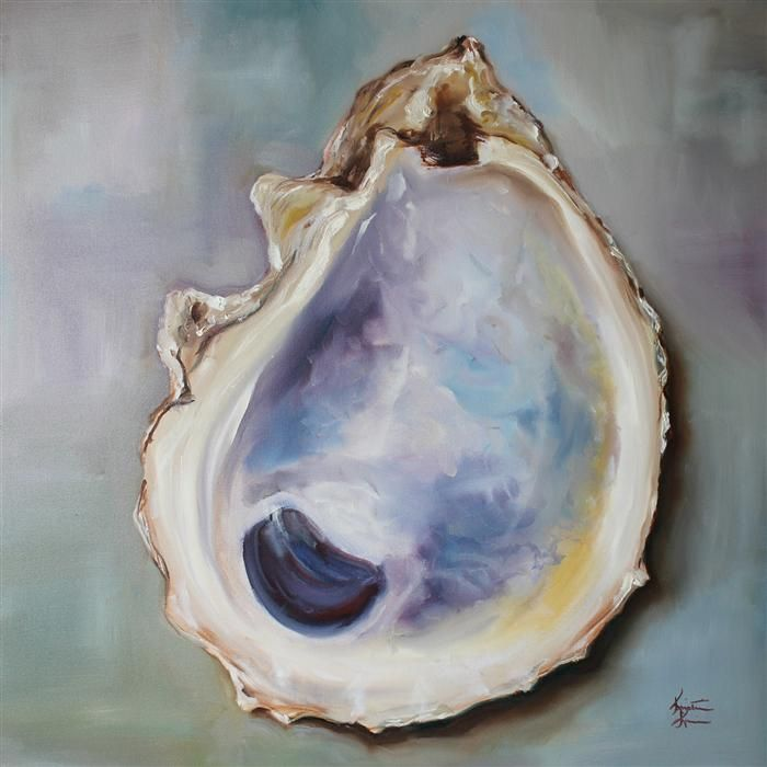 Original art for sale at UGallery.com | Gulf Oyster Shell by KRISTINE KAINER | $1,325 | Oil painting | 24' h x 24' w | http://www.ugallery.com/oil-painting-gulf-oyster-shell