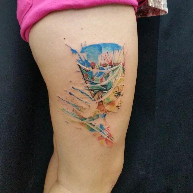 Watercolor Nefertiti by Ali Baba Tattoo
