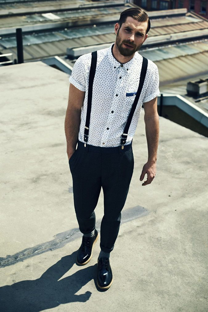 White Polka Dot Short Sleeve Shirt — Black Suspenders — Navy Chinos — Black Leather Derby Shoes
