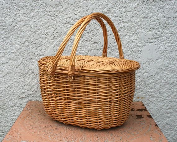 Larve Vintage Wicker Picnic Basket Summer-y Plaid by MysticLily