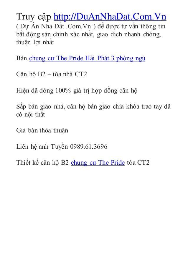 Bán chung cư The Pride 3 phòng ngủ tòa CT2 by Chung Cư Dương Nội via slideshare